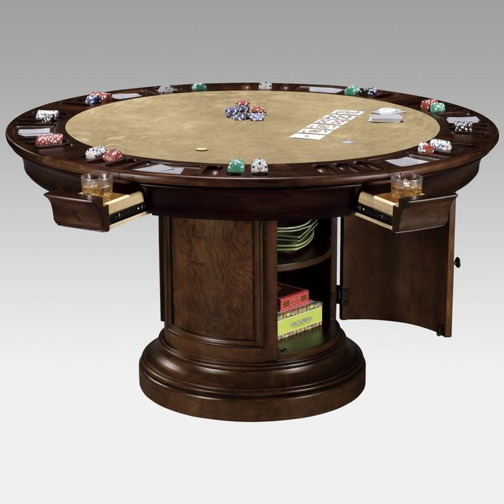 Round dining table that converts to game table use for Dining room game table