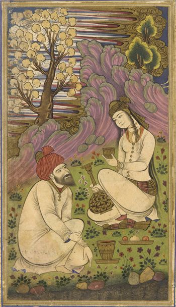 Folio from a Divan (collected poems) by Hafiz; recto: Bearded man and a woman in a landscape; verso: text, five couplets of poem 1658-1659 Safavid period  Opaque watercolor, ink, and gold on paper H: 26.8 W: 18.0 cm  Iran  Purchase--Smithsonian Unrestricted Trust Funds, Smithsonian Collections Acquisition Program, and Dr. Arthur M. Sackler S1986.318