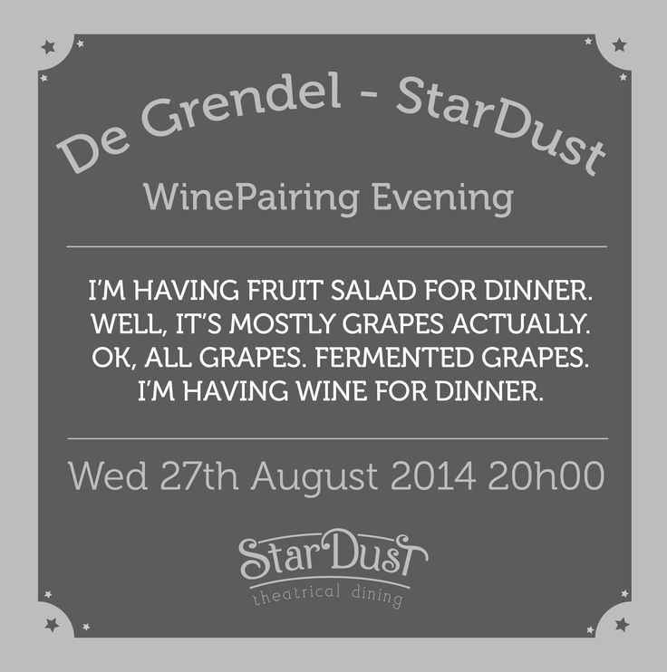 i'm having fruit salad for dinner... welllllll.... wine! stardust theatrical dining wine pairing evening. cape town south africa