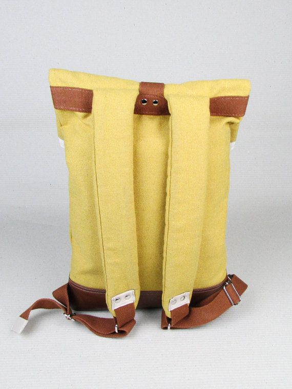 "#insettoamaro ""Backbone 2015"" city #backpack Yellow wool and Brown eco-leather"