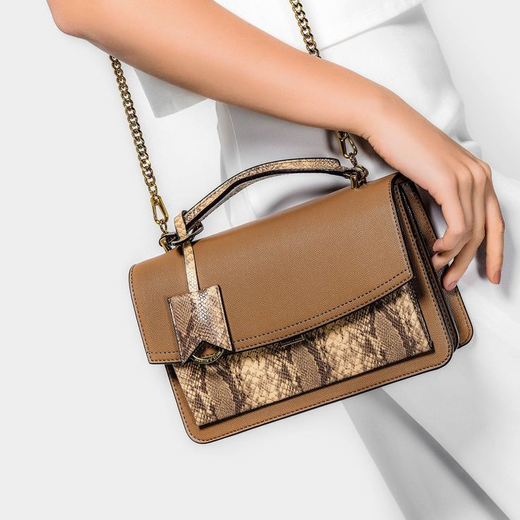 Brown Push-Lock Satchel Bag | CHARLES & KEITH