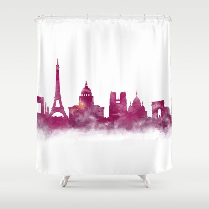 Paris France Eiffeltower Cityscape Showercurtain Watercolor Skyline Europe Landmarks Travel