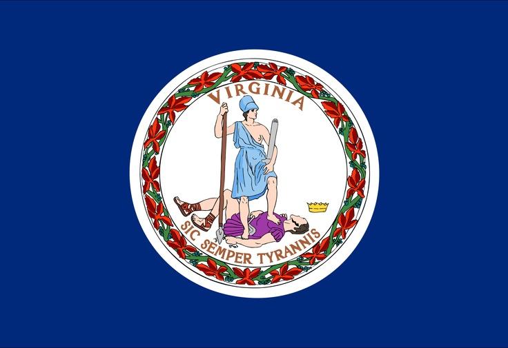 "Virginia state flag. ""Sic semper tyrannis,"" ""Thus always to tyrants."""