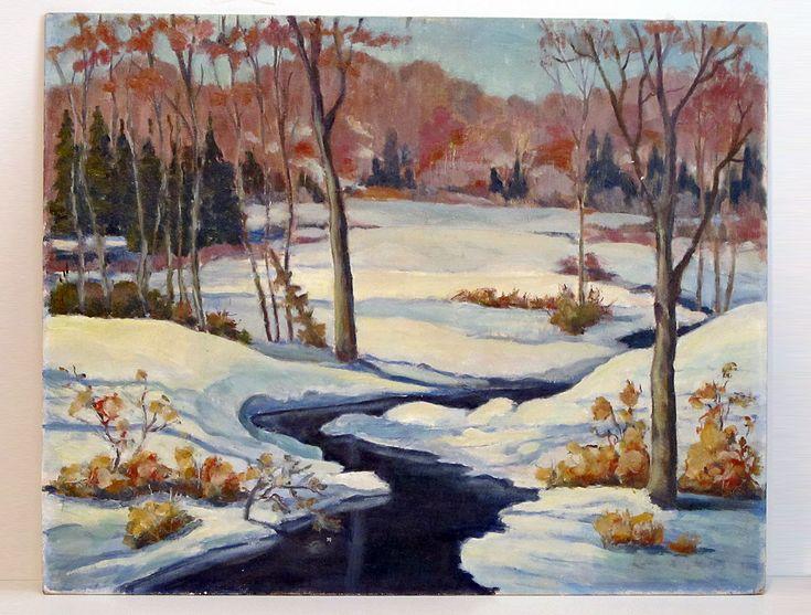 Canadian Winter Landscape, Oil on Canvas Panel (unframed) $35 CAD
