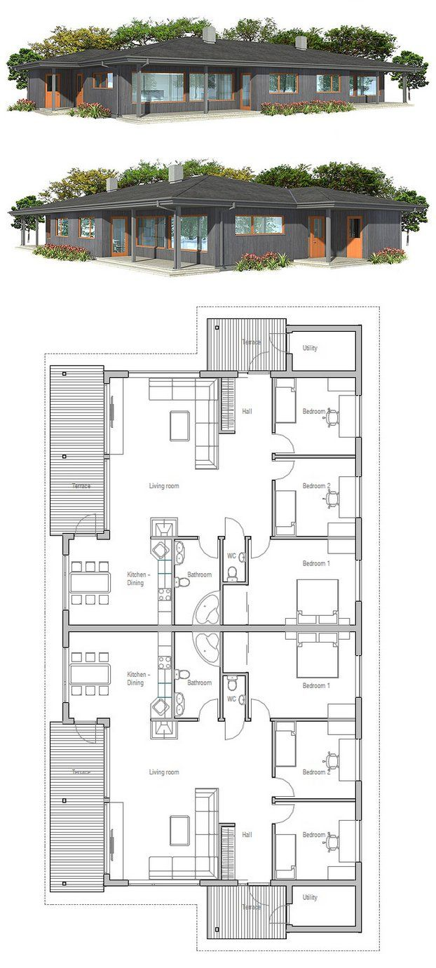 39 best maison duplex images on pinterest duplex house for Zweifamilienhaus plan