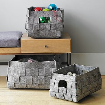 I want to try to make these felt baskets from West Elm.
