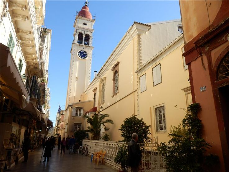 The Church of Saint Spyridon - situated in the heart of Corfu town just behind the Liston. Originally the church was built in San Rocco square but in 1590 was built at its present location.