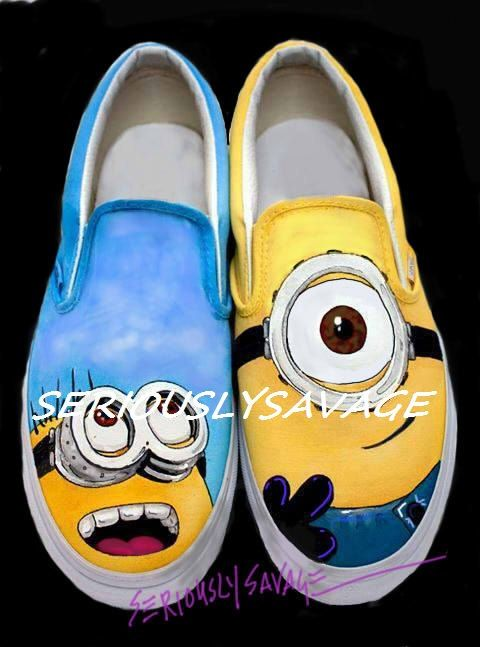 Despicable Me Minions Custom Painted Shoes Carl and Dave, best buddies forever on Etsy, $119.00