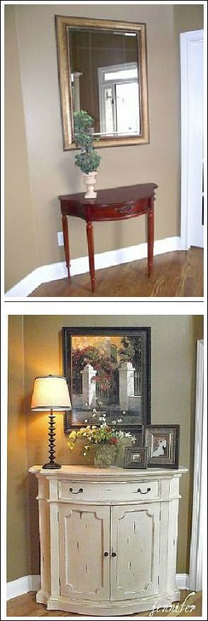 Before and After entryway.  With a mirror hung across from the front door, the first thing the guest sees is themselves.  The small table was replaced with a larger piece.  A lamp in the entryway is always inviting.  Don't have the bulb watt higher than 40.  Soft light is much more appealing.  I think I really like the lamp idea!