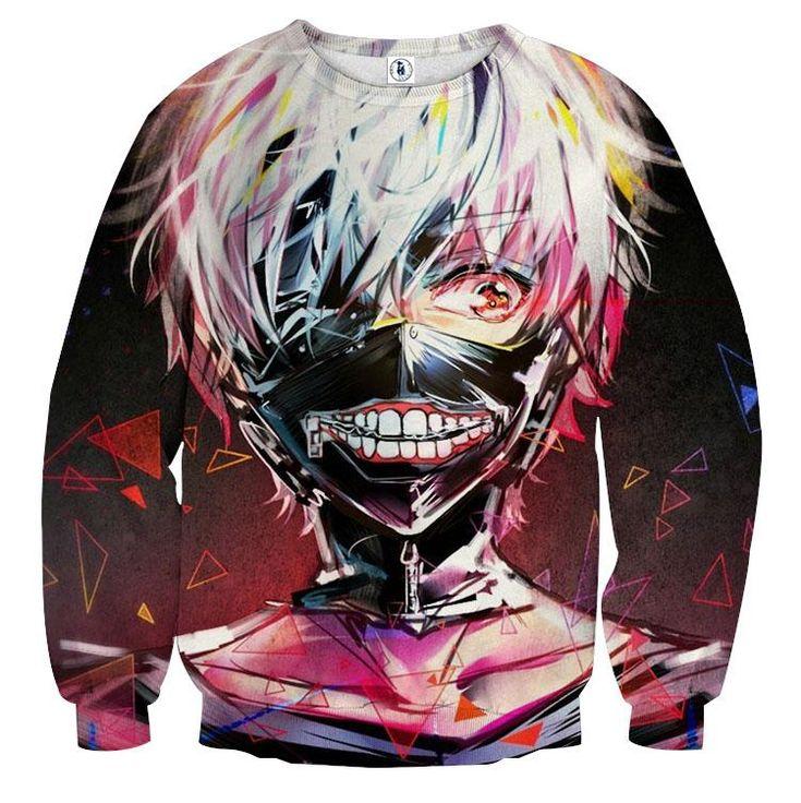 Tokyo Ghoul Anime Kaneki Half-Ghoul Masked Vibrant Sweatshirt — Konoha Stuff #TokyoGhoul #Anime #Kaneki #Sweatshirt #Konoha