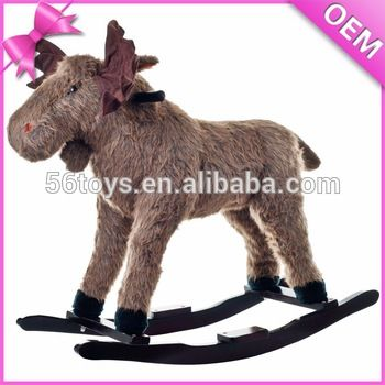 hot promotional items plush deer rocking horse