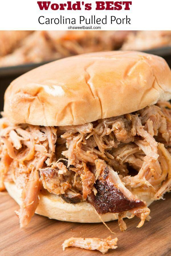 Want to make the best pulled pork from your own kitchen? This recipe for the world's best carolina pulled pork all starts with a brine.  ohsweetbasil.com