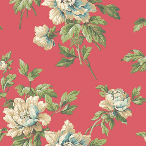 Casabella II Bright Cerise Document Floral Wallpaper York Wallcoverings Wallpaper Wall Dec