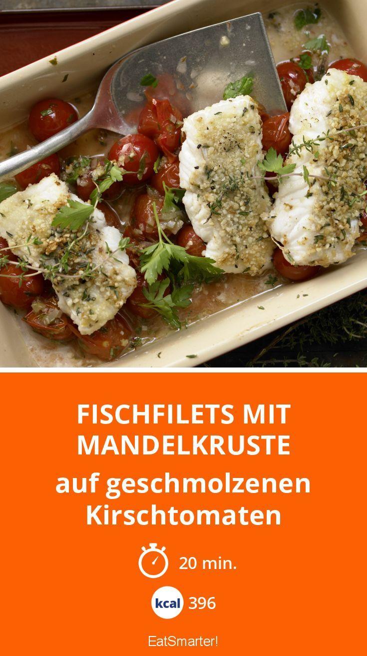 Fischfilets mit Mandelkruste auf geschmolzenen Kirschtomaten - So lecker!