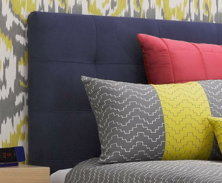 Design by Samantha Elsworthy, 2013 RMIT Soft Furnishing Award winner.  Bedhead and cushions manufactured by BQ Design using Zepel Fabrics.