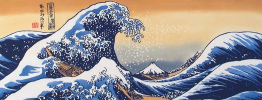 "Ukiyo-e Tenugui - Mr. Fuji and Wave - Hokusai Katsushika - This tenugui is Ukiyoe ""kanagawaoki namiura"" from Thirty six views of Mt. Fuji by Hokusai Katsushika. This tenugui depicts a gigantic troublesome wave off the Kanagawa Coast while far away Mt. Fuji serenely watches the violent ocean. This tenugui uses the best quality of Chusen craftmanship, an amazing piece. This tenugui uses chusen method hand-dye."