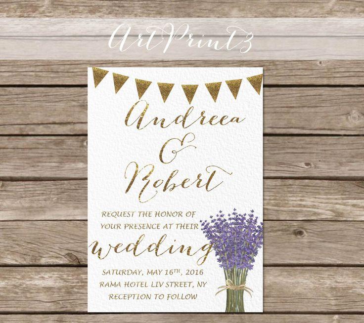 lavender wedding invitation printable rustic wedding by artprint3
