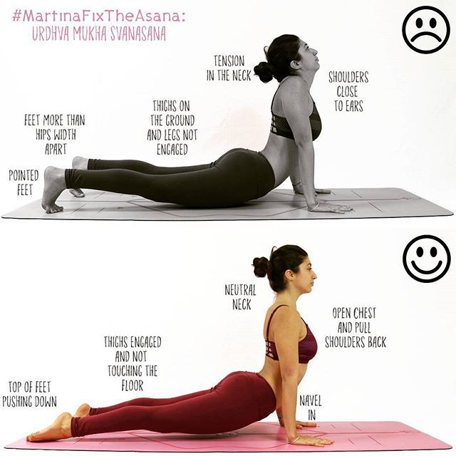 New week new #MartinaFixTheAsana : Urdhva Mukha Svanasana ! This pose might look easy but it's actually pretty advanced, it requires flexibility but also strength 😊 so let's start work on the main focuses: 1. Keep your neck neutral and shoulder far from ears. Chest up and forward. 2. Suck your navel in to protect your lower back 3. Keep your hands under your shoulders and elbows + spider fingers 4. Activate your legs and don't let your thighs and pubic bones collapse on the ground. 5. (Last…
