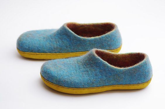 Felted slippers clogs-summer felted shoes-felted by VASlippers