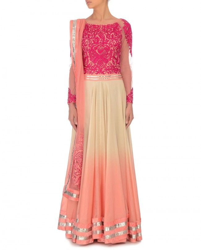 Salmon & Cream Shaded Anarkali Suit- Buy Suits,Varun Bahl Online | Exclusively.in