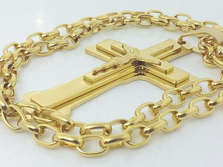Collana Catena Ciondolo Croce Oro Crocifisso con cristo Hip Hop Rap Gioielli