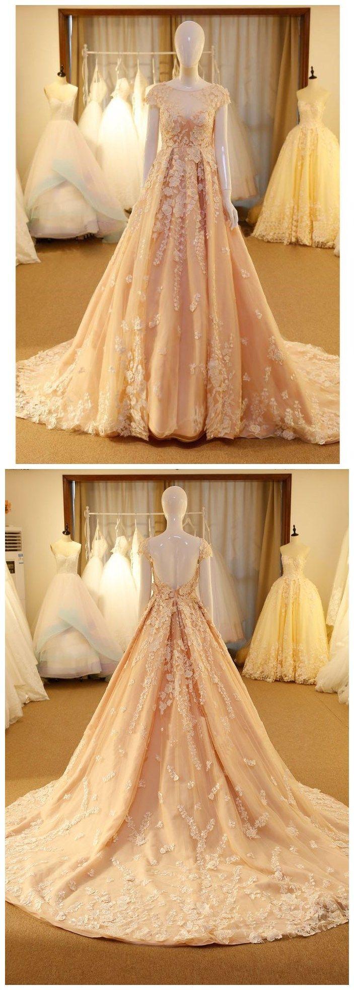 A-line Princess Scoop Neck Cap Sleeveless Chic Prom Dresses, Sweep Train Dresses ASD26798 #scoopneck #princess #promdress #party #girl #sweeptrain #sleeveless #fashion #appliques #autumn #fall