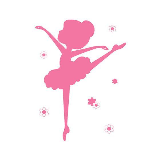 BAILARINA silueta etiqueta Pink Girl pared Arte por decampstudios