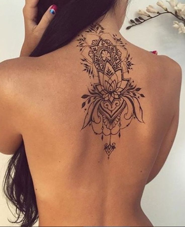 Lotus Mandala Womens Upper Back Tattoo Ideas at MyBodiArt.com