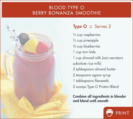 Type O - Our bodies' require the proper nutrients to function efficiently. Following your blood type specific diet provides maximum nutritional support to fight fatigue and support healthy energy levels. Here's an energy-boosting protein drink recipe adapted for each blood type.
