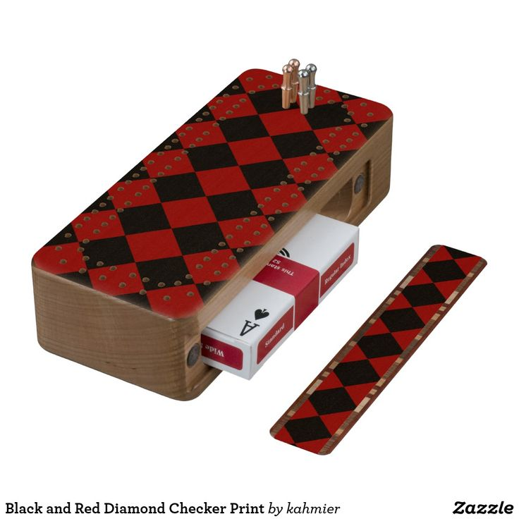 Black and Red Diamond Checker Print Cribbage Board  25% off