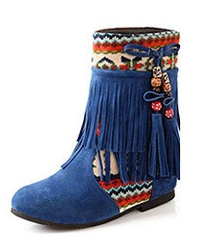 Oferta: 17.53€. Comprar Ofertas de Minetom Mujer Otoño Invierno Cuero Nobuck Calentar Botas De Flecos con Cuentas Zapatos Cargadores Cómodo Botines Azul EU 38 barato. ¡Mira las ofertas!