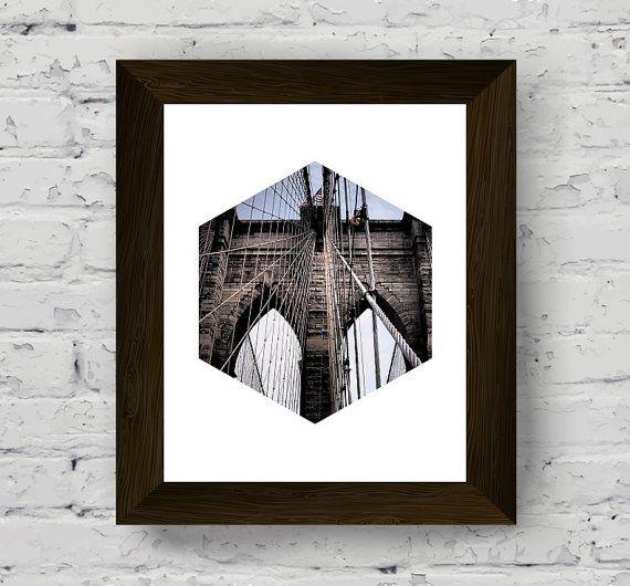stampa del ponte di Brooklyn fotografico geometrica regalo di