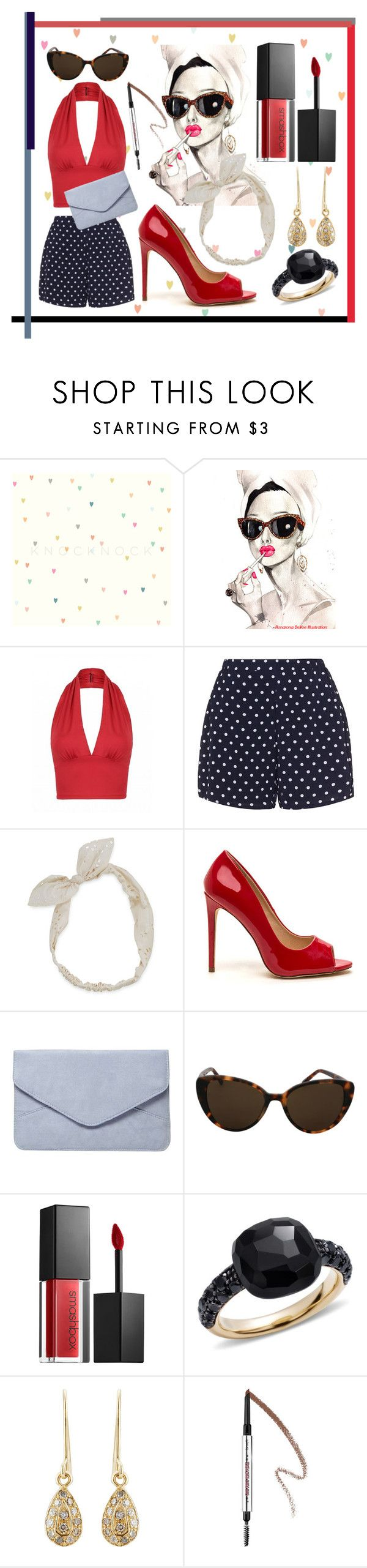 """Retro-girl"" by karimaputri on Polyvore featuring Zizzi, Carole, Dorothy Perkins, Linda Farrow, Smashbox, Pomellato, Carolina Bucci and Benefit"