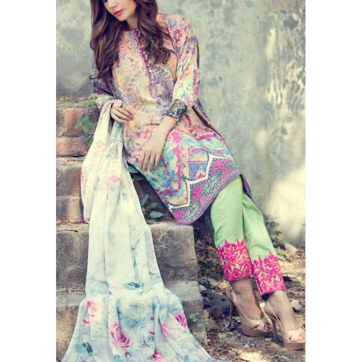 Multicolor Digital Printed Twill Linen Salwar Kameez Contact: (702) 751-3523 Email: info@pakrobe.com Skype: PakRobe