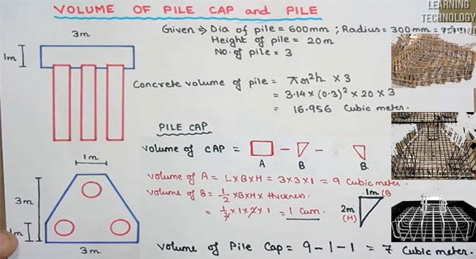 How To Find Out The Volume Of Concrete Volume Of Pile As Well As Three Pile Caps Nursing Student Tips Civil Engineering Construction Civil Engineering