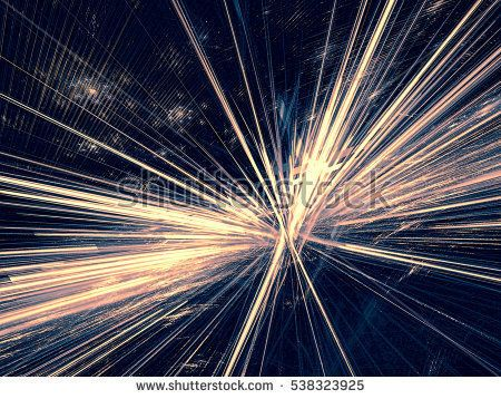 Abstract rays burst - computer-generated image. Fractal geometry: glowing lines like star. Technology background for covers, banners, web design.