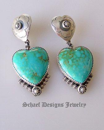 Turquoise Heart Earrings Rocki Gorman for Schaef Designs Jewelry New Mexico