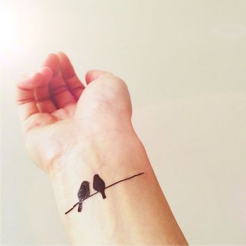 Birds on Wire simple tattoo - InknArt from INKNARTSHOP Temporary