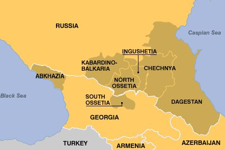 Map Of North And South Ossetia Abkhazia Georgia Kabardion - Abkhazia georgia russia map