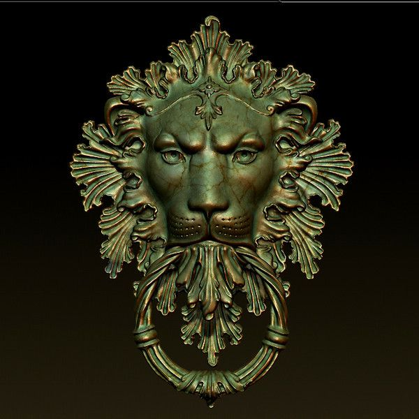 lion door knocker 3ds - Lion Door Knocker... by NickSc