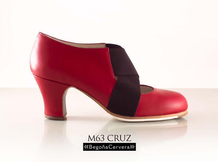 https://www.tamaraflamenco.com/es/zapatos-de-flamenco-profesionales-4 Zapato profesional de flamenco Begoña Cervera Modelo Cruz piel roja