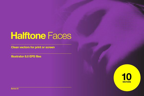 Halftone Faces - 10 Vectors by Offset on @creativemarket
