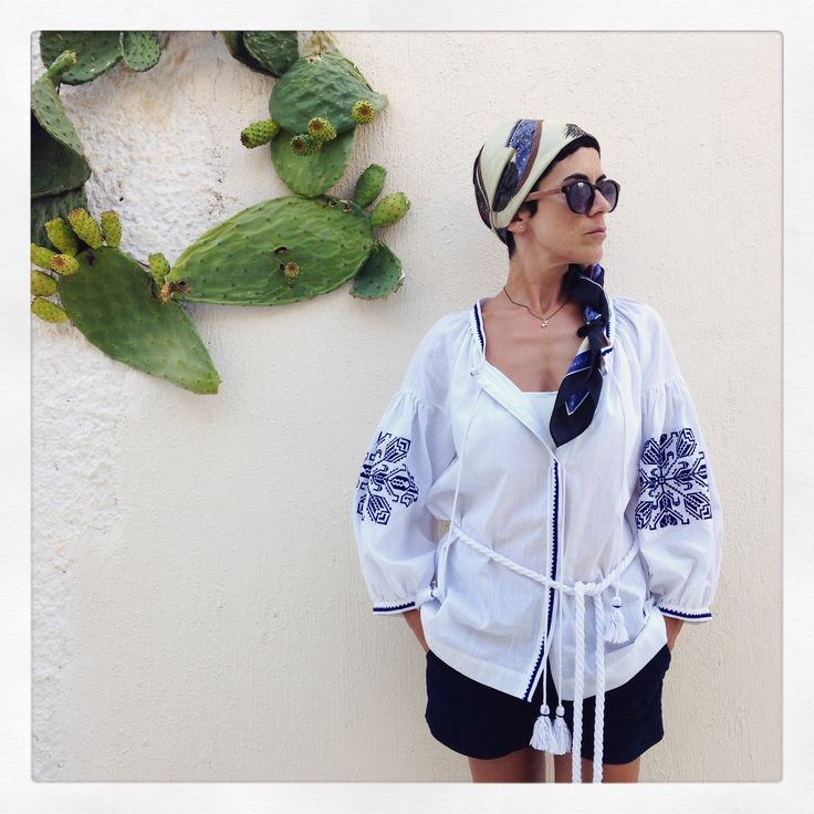 """The absolute Grecian Chic style! The """"Tsarouhia"""" silk scarf beautifully combined with an Ancient Kallos top!"""
