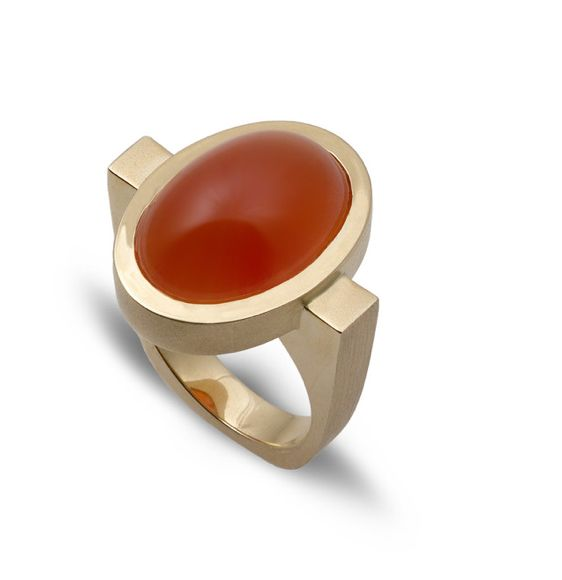 "Shown in 14k Yellow Gold with Oval Carnelian. Oval Size: 21 x 24mm BREAKBREAK Claudia Endler is passionate about jewelry, art, architecture, design, and self-expression. ""Ever since I was little you c"
