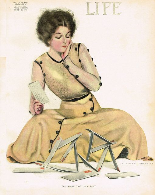 Vintage Magazine Cover by Coles Phillips -  31 March 1910 I love her dress. I could make one in darker colours, like charcoal with red trim. Or in really bright colours like yellow with dark grey trim.