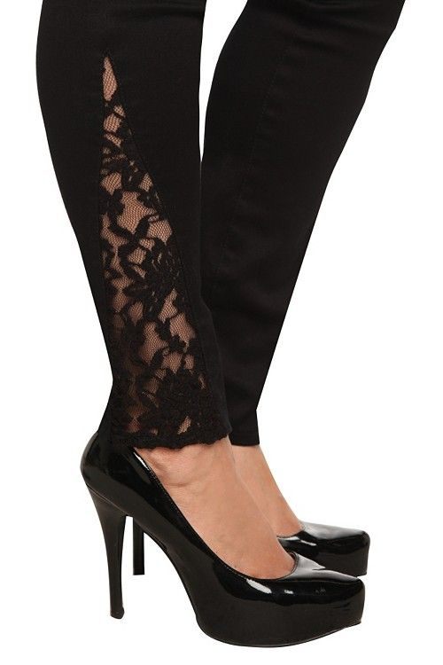 Torrid Jeans! Plain black skinny jeans, but then they add this sliver of lace add the bottom!! Genius.