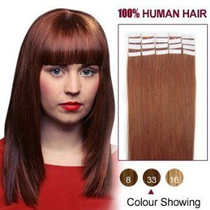 16 Inches Dark Auburn(33) 20pcs Tape In Human Hair Extensions by ALIHAIR. $35.72. 200-300strands are recommended for whole head.. High quality, tangle free, silky soft.. 100% Real remy human hair.. Can be washed, heat styled.. APPLICATION:1.Wash and condition the hair thoroughly. After washing, blow dry the hair so that it is straight with no styling products (do not grease or saturate the hair with any other oils). 2.Depending on the style of the extensions,For...