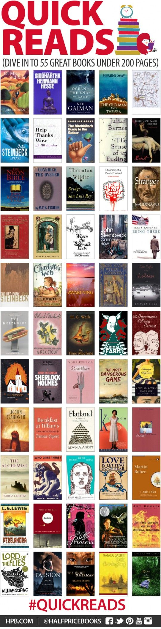 55 great books under 200 pages - infographic