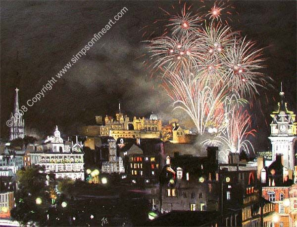 A Limited Edition Print from an Original Scottish Landscape Painting of The Hogmanay Fireworks, Edinburgh, Signed and numbered by Scottish Artist  Jim Simpson. Original Painting executed in Soft Artists Pastel On Mi-Tientes Paper in 2003. Number of Small prints in Edition: 1000. Number of Large prints in Edition: 100.