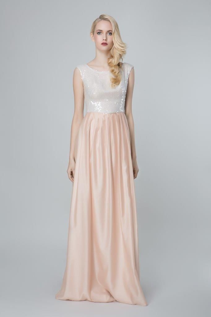 SADONI evening dress ZELMA with sequin top and folded skirt in a beautiful nude peach color